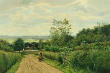 Carl Milton Jensen: Landscape with milkmaid on a dirt road. Signed Milton Jensen 1888. Oil on canvas. 59 x 85 cm