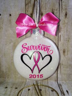 Breast Cancer Ornament, Christmas Ornament, Pink Ribbon, Cancer Survivor, Cancer… Boost your and cure with Pure Natural Brazilian Extract Capsulessoursop breast cancer awareness Breast Cancer Survivor Gifts, Breast Cancer Crafts, Breast Cancer Art, Cancer Survivor Party, Cancer Survivor Tattoo, Vinyl Ornaments, Diy Christmas Ornaments, Glitter Ornaments, Nativity Ornaments