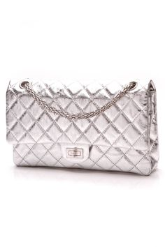 c908de870c14 Chanel Silver Classic 2.55 Reissue Flap Bag Metallic Bag, Quilted Leather