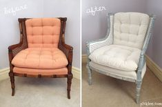 before and after cane chair