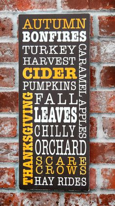 Fall Autumn Typography Subway Style Hand Painted Sign. $25.00, via Etsy.
