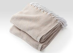 Cotton Herringbone Throw in White/Grain