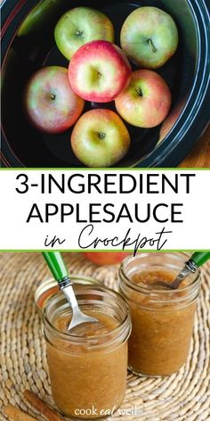 An easy unsweetened applesauce recipe in the crockpot with just 3 ingredients and no added sugar! You won't believe how simple this healthy recipe is - and it makes your house smell like fall while it's slow cooking. Everyone will love this homemaker chunky cinnamon applesauce! {Paleo, Whole30, gluten-free, grain-free, dairy-free, sugar-free} via @cookeatpaleo Paleo Dessert, Healthy Dessert Recipes, Real Food Recipes, Healthy Breakfasts, Healthy Treats, Appetizer Recipes, Grain Free, Dairy Free, Gluten Free
