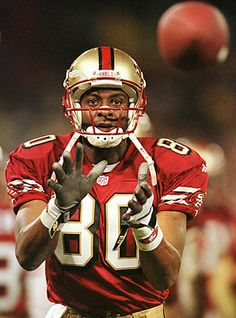 Jerry Rice - SF - WR…My Favorite of all-time, football player! Nfl 49ers, 49ers Fans, Joe Montana, Sport Football, Football Helmets, Football Moms, Sports Teams, Sf Niners, Forty Niners