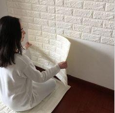 New 77cm*70cm white brick Pattern Self Adhesive PVC Wallpaper Room decor Stick Wall Paper Home Decor wallpaper for walls 3 d