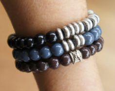 Unisex  Beaded stretch bracelets, Mens bracelets, gift for him, gift for her
