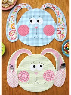 """Adorable place mats to stitch up for Easter! Fun for the whole family, these sweet bunny place mats can feature pockets on the ears for utensils, napkins or other treats. It's a great set to stitch up for spring! Finished size of each place mat is approximately 17"""" x 13""""."""