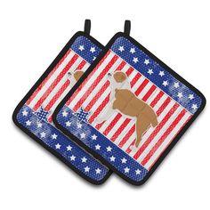 Caroline's Treasures Patriotic USA Central Asian Shepherd Dog Potholder