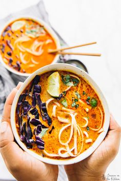 Vegan Coconut Curry Soup (with Noodles)