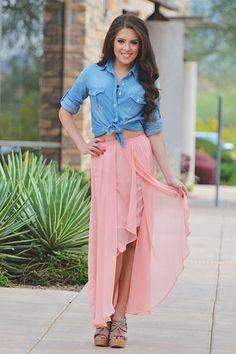 Chambray top + hi-lo maxi skirt.