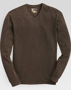 Pronto Blue V-Neck Modern Fit Sweater, Brown