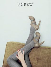 love the textures, and again, the simplicity by maude Grey Tights, Wool Tights, Sweater Tights, Gray Sweater, J Crew Style, Style Me, J Crew Catalog, Modern Hepburn, Creature Comforts