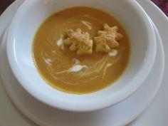 pumpkin tomato soup with creme fraiche and parmesan leaf puffs