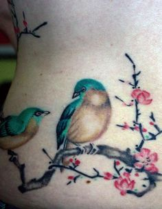 Birds on branch tattoo-I would like small version on my foot...represent my two girls