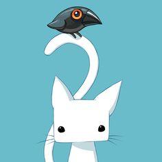 Cat and Raven Art Print