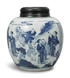 A BLUE AND WHITE GINGER JAR,  QING DYNASTY, 19TH CENTURY