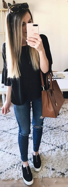 #winter #fashion /  Black Knit / Brown Leather Tote Bag / Ripped Skinny Jeans / Black Sneakers