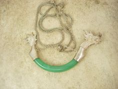 Vintage JADE Dragon LARGE Chinese necklace