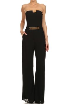 How would you style the Jumpsuit ? Black Strapless Full Length Jumpsuit.
