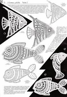 New knitting charts fish patterns ideas Appliques Au Crochet, Crochet Motifs, Freeform Crochet, Crochet Diagram, Crochet Chart, Thread Crochet, Filet Crochet, Crochet Doilies, Crochet Lace
