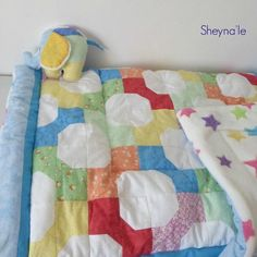 """This is a custom order baby quilt, the pattern (chosen by grandma) is called """"bow tie"""" - a classic pattern from the 18th century Classic are always in style"""