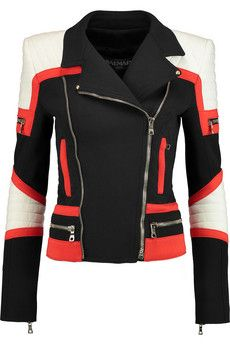 Bethenny Frankel's Black white and red moto jacket Black Biker Jacket, Balmain Jacket, Best Leather Jackets, Slim Fit Jackets, Stylish Jackets, Embroidered Jacket, Piece Of Clothing, Vintage Clothing, Cotton Jacket