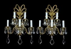 Brass and crystal sconces, made in Italy around the 1950's $999.00