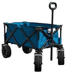 Folding Camping Wagon Cart Collapsible Sturdy Steel Frame Garden Beach Cart Color: Blue Timber Ridge wagon is a perfect utility wagon/cart for Folding Cart, Folding Wagon, Burning Man, Beach Wagon, Pull Wagon, Beach Cart, Wheelbarrow Garden, Garden Cart, Herb Garden