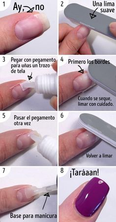 9 Tricks for Magnificent Manicures and Beautiful Nails 9 tips for beautiful manicures and beautiful French Gel, French Tip Nails, Glue On Nails, Diy Nails, Soft Nails, Broken Nails, Fixing Broken Nail, Nagel Hacks, Nail Designs