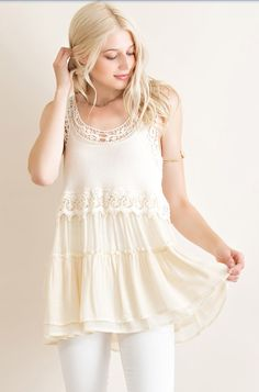 This adorable ivory ruffled baby doll top is the perfect to to compliment any bottoms. It has delicate lace trim and is light weight. | Shop this product here: http://spreesy.com/glitterandglowpriceville/117 | Shop all of our products at http://spreesy.com/glitterandglowpriceville    | Pinterest selling powered by Spreesy.com