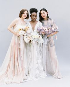These beauties were so amazing to photograph. All the soft pastel colors were different to photograph and the design of the gowns was amazing too. Such unique wedding looks Wedding Looks, Bridal Looks, Southern Weddings, Unique Weddings, Wedding Ceremony, Wedding Venues, European Wedding, Indoor Wedding, Chic Dress