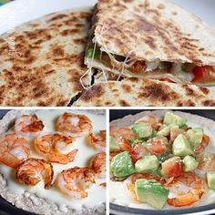 "fit-dontquit: "" Dinner tonight is Shrimp Quesadillas with Tomato Avocado Salsa brought to your by skinnytaste! Shrimp Quesadillas with Tomato Avocado Salsa Gina's Weight Watcher Recipes Servings: 4 Skinny Recipes, Ww Recipes, Shrimp Recipes, Fish Recipes, Mexican Food Recipes, Cooking Recipes, Healthy Recipes, Recipies, I Love Food"