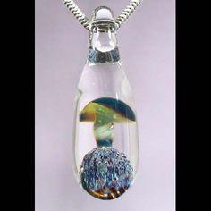 SALE Green Glass Mushroom Lampwork Pendant by Glass Peace $10.00
