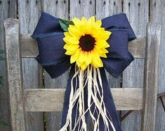 Wired Denim Bow Sunflowers Pew Bow Sunflower Wedding Navy and Yellow Church Aisl. Country Style Wedding, Rustic Wedding, Country Weddings, Wedding Church, Wedding Navy, Barn Weddings, Dream Wedding, Spring Wedding, Unique Weddings