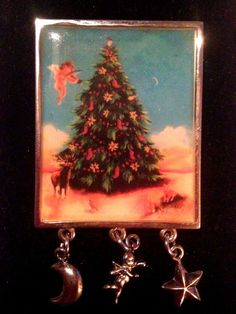 Christmas Tree Pin Brooch Moon Star Cherub danglers Woodland Creatures Unique #Unbranded