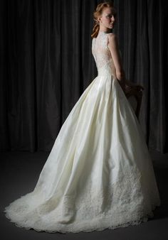 Silk taffeta ballgown with sheer alencon bodice and deep alencon hem | Judd Waddell | https://www.theknot.com/fashion/constance-judd-waddell-wedding-dress
