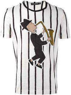 DOLCE & GABBANA saxophonist patch striped T-shirt. #dolcegabbana #cloth #t-shirt