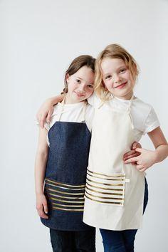 Gold Foil Stripe  Kids Apron Sets. Denim + Natural. www.odettewilliams.com