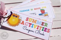 Printable Summer Activities Coupon Book. Don't leave it with just summer... Easily create Fall, Winter & Spring activity coupons!