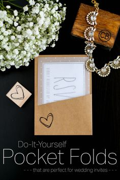 DIY Pocket Folds for Wedding Invitations by The Minnevore. These DIY pockets are simple to put together and make a beautiful statement!  For cardstock for your next invitation visit www.cardstockshop.com.