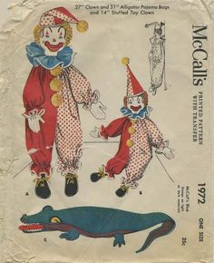 """Vintage Sewing Pattern for Clown and Alligator Doll and Pajama Bags   McCall's 1972   Year 1955   14"""" Stuffed Toy Clown   27"""" Clown Pajama Bag   31"""" Alligator Pajama Bag"""