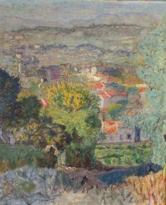 Les toits à travers les mimosas, Paysage du Cannet, vers 1925, Pierre Bonnard, musée de l'Abbaye, St Claude, Jura, donation Guy Bardone 2002.