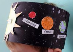 Solar System Hat Activity for Kindergarten Students create a starry backdrop and then glue on the planets to create their hat in this solar system activity for kindergarten.Solar System Hat Activity for Kindergarten; Have kids color the planets as they wi Planets Activities, Solar System Activities, Solar System Crafts, Space Activities, Science Activities, Solar System Projects For Kids, Planets Preschool, Space Projects, Science Education