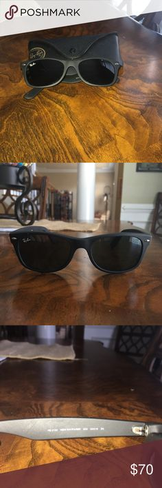 """Black unisex New Wayfarer Ray Ban sunglasses Excellent used condition, no scratches, Ray Ban unisex black """"New Wayfarer"""" sunglasses.  Non polarized, comes with Ray Bans case.  These are authentic so here is a great opportunity to buy a pair at half price of what Ray Ban sells them for online! Ray-Ban Accessories Sunglasses"""