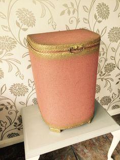 "Retro Linen Basket - Lloyd Loom Pink and Gold - Vintage English Laundry Hamper - 21"" x 14"" x 12"" by BlackSquirrelHome on Etsy"