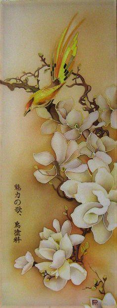 Silk wall hanging Batik art Silk painting magnolia and birds anniversary gift – beauty flowers Silk Scarf Painting, Art Painting, Silk Painting, Oriental Art, Batik Art, Flower Art, Fabric Painting, Painting, Silk Art