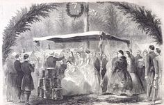 """March 31-April 1, 1863: In his letter to Molly, James mentions that he saw this illustration of the wedding of Captain De Hart to Nellie Lammond. """"A Wedding in the Army of the Potomac,"""" Harper's Weekly, April 4, 1863. Missouri History Museum"""