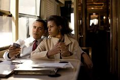 President Obama and Michelle Obama at dinner
