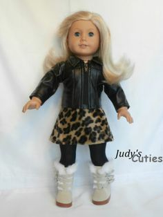 Black Leather JKT-Fur Skirt-Suede&Fur Boots Doll Clothes fit American Girl Only