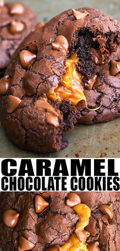 CHOCOLATE CARAMEL COOKIES RECIPE- The best quick and easy caramel stuffed cookies, homemade with simple ingredients. Soft and fudy, just like bakery style cookies. Loaded with chocolate chips. Chocolate Caramel Cookies, Chocolate Cookie Recipes, Easy Cookie Recipes, Homemade Chocolate, Chocolate Desserts, Easy Desserts, Baking Recipes, Delicious Desserts, Chocolate Chips